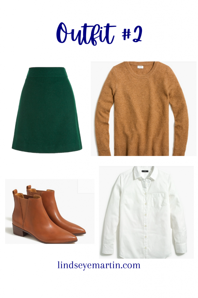 5 outfits, 1 item has the same green skirt, with a camel sweater and booties. A white button down shirt completes the look.