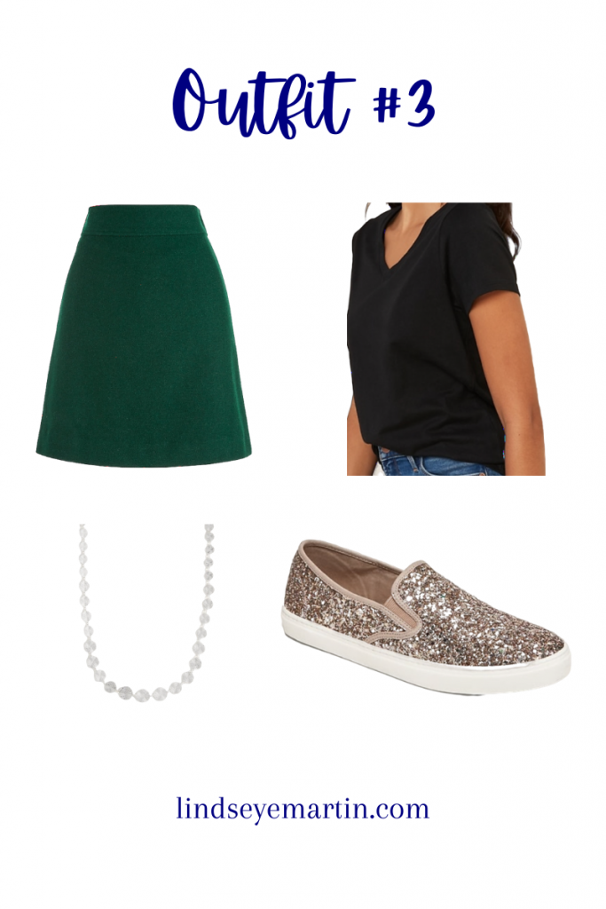 Outfit #3 has the skirt, a vneck tshirt, slip on sneakers, and a silver necklace.