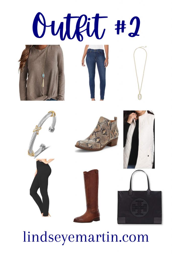 Outfit #2  Shop Your Closet top, jeans, necklace, bracelet, booties, vest, leggings, riding boots, tote bag