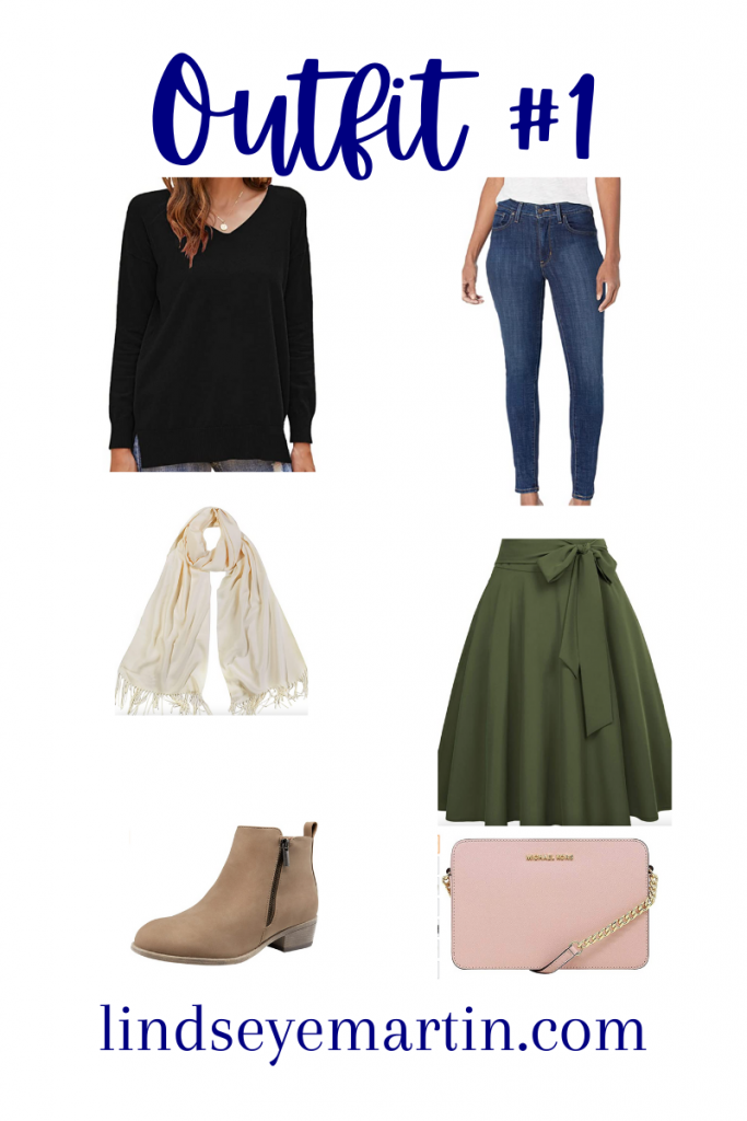 Outfit #1  shop your closet sweater, jeans, skirt, booties, scarf, michael kors crossbody